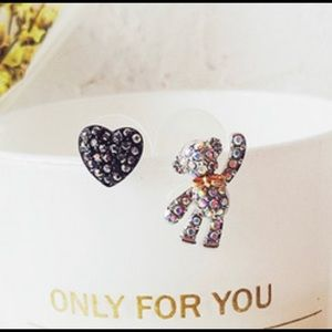 🖤.Teddy Bear & Rhinestone Heart .925 Sterling🖤
